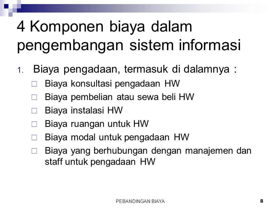 4 Komponen biaya dalam pengembangan sistem informasi