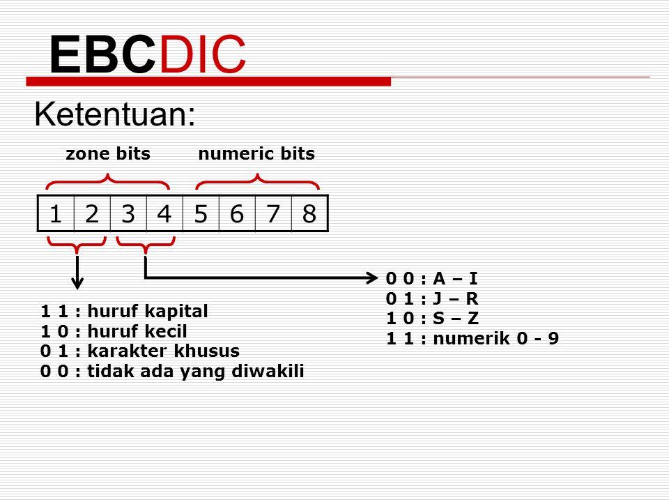 EBCDIC Ketentuan: 1 2 3 4 5 6 7 8 zone bits numeric bits 0 0 : A – I