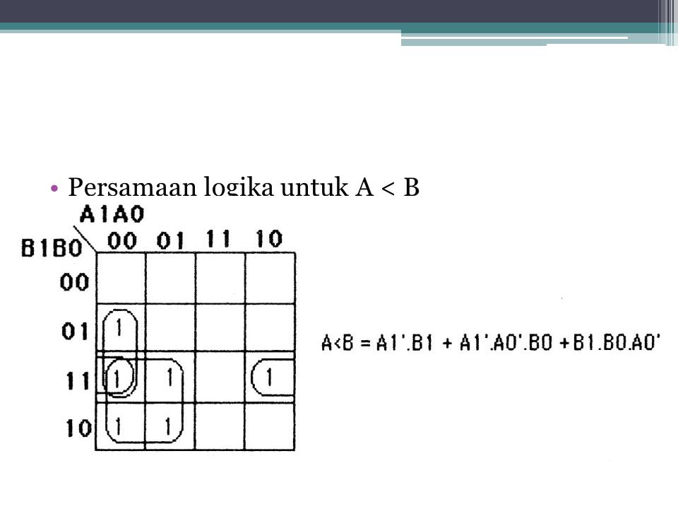 Persamaan logika untuk A < B