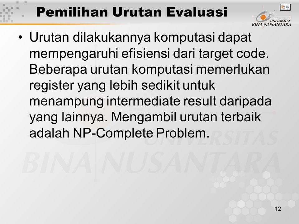 Pemilihan Urutan Evaluasi