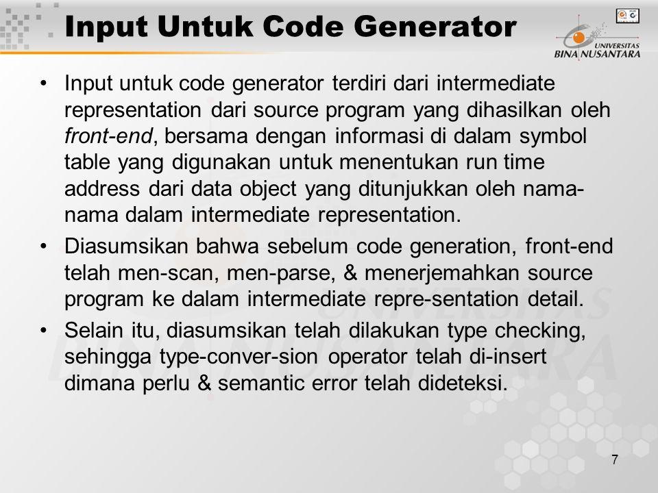 Input Untuk Code Generator
