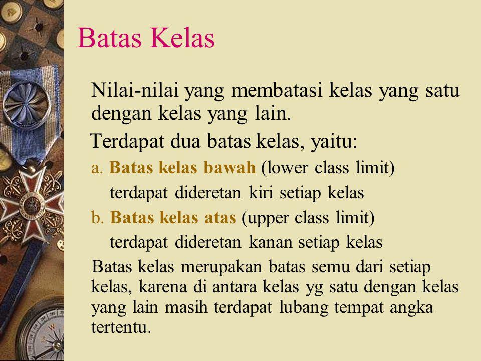 Batas Kelas Terdapat dua batas kelas, yaitu: