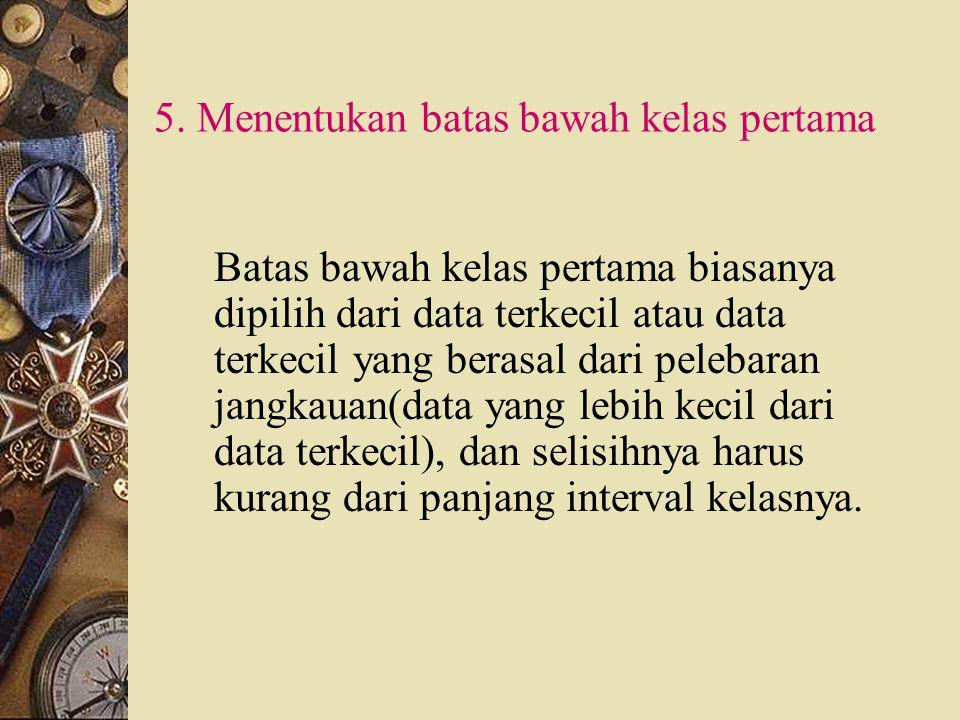 5. Menentukan batas bawah kelas pertama
