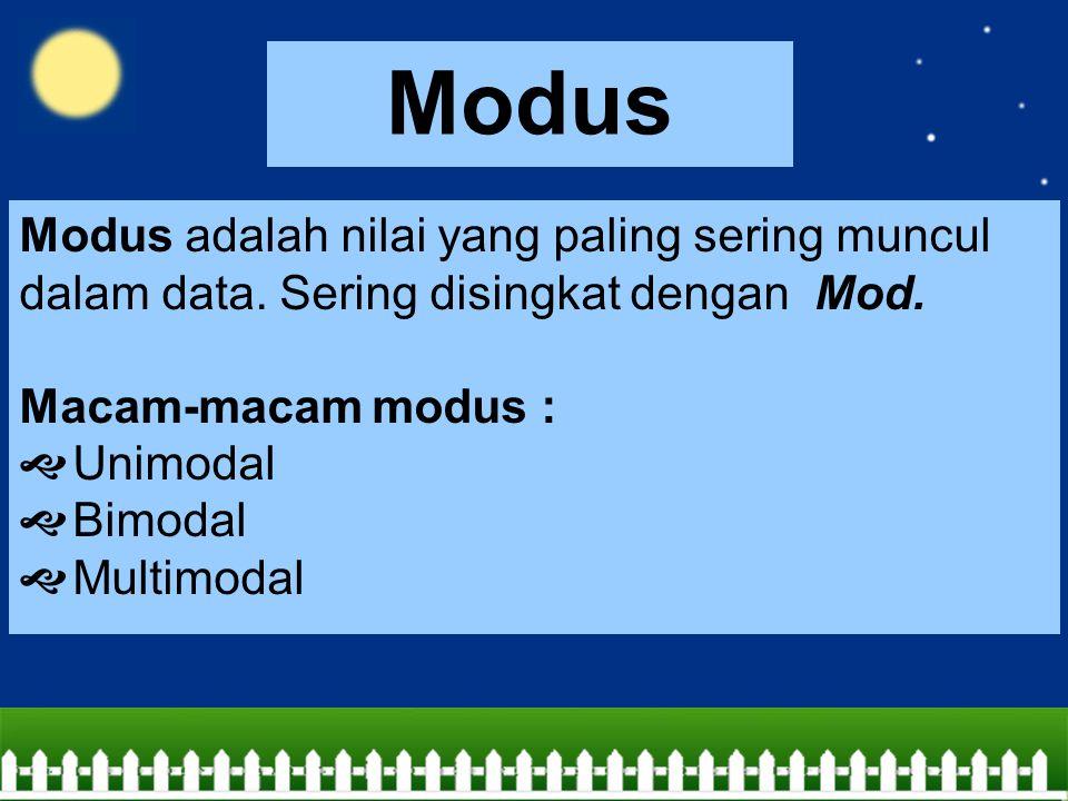 Modus Modus adalah nilai yang paling sering muncul dalam data. Sering disingkat dengan Mod. Macam-macam modus :