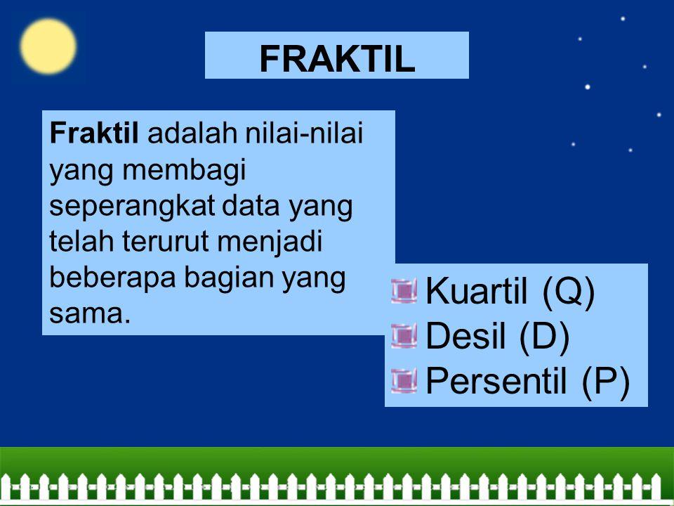 FRAKTIL Kuartil (Q) Desil (D) Persentil (P)