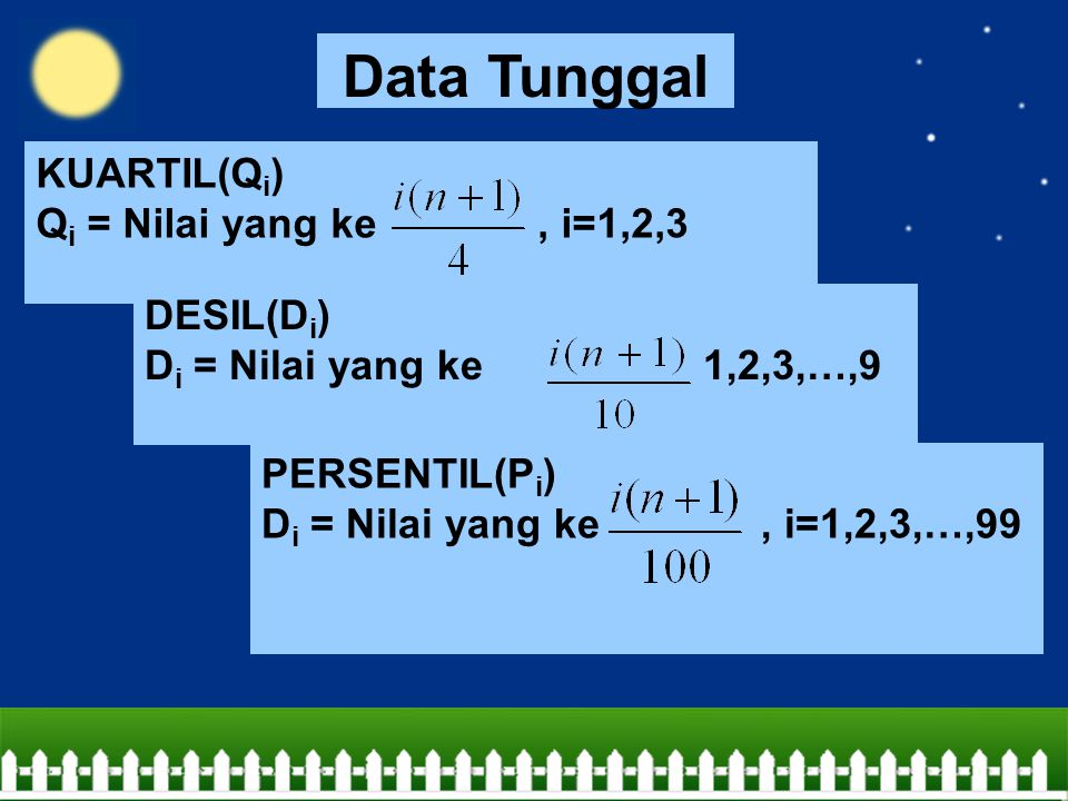 Data Tunggal KUARTIL(Qi) Qi = Nilai yang ke , i=1,2,3 DESIL(Di)
