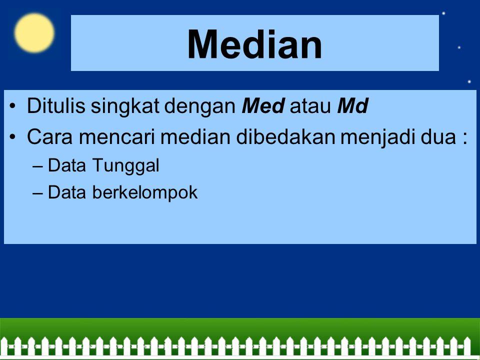 Median Ditulis singkat dengan Med atau Md