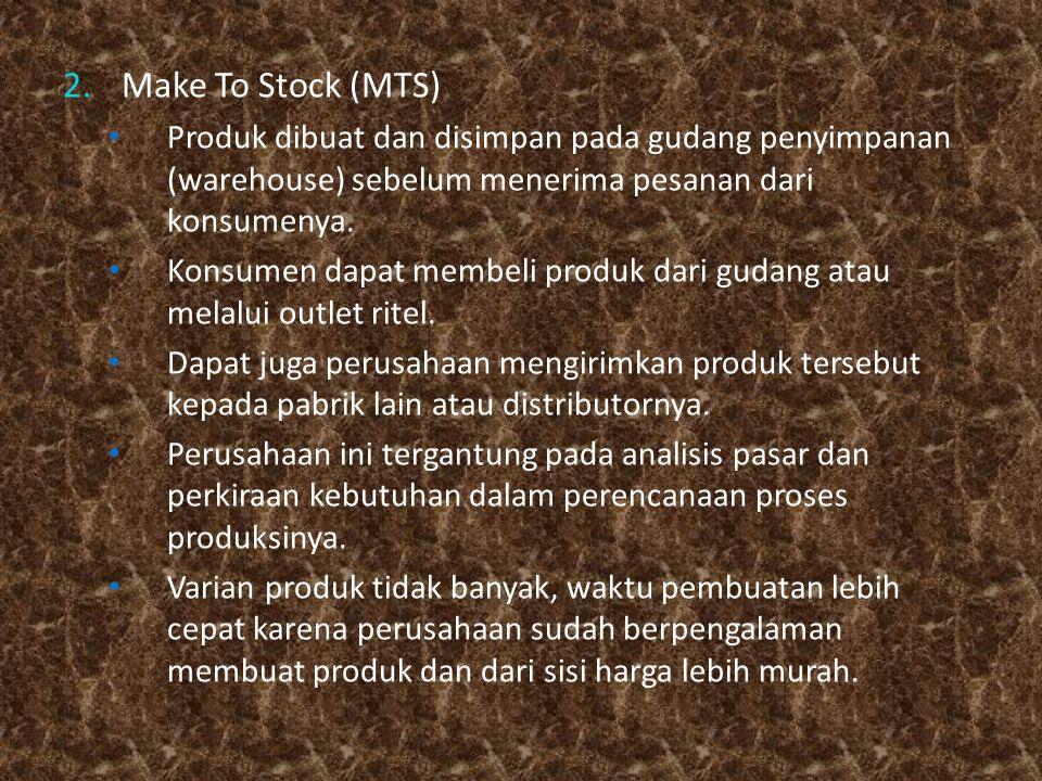 Make To Stock (MTS) Produk dibuat dan disimpan pada gudang penyimpanan (warehouse) sebelum menerima pesanan dari konsumenya.