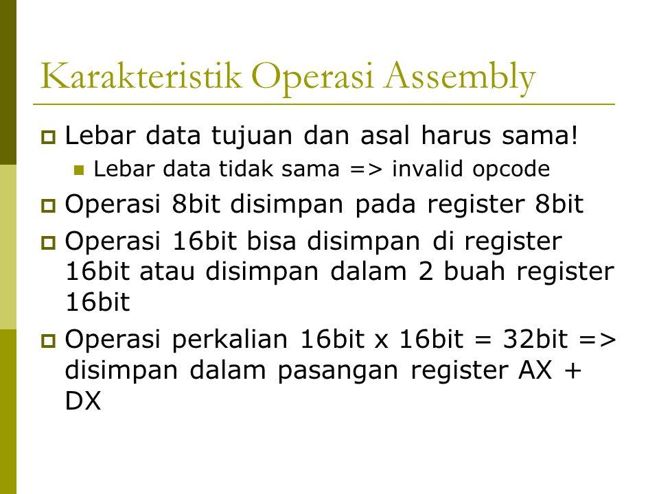 Karakteristik Operasi Assembly