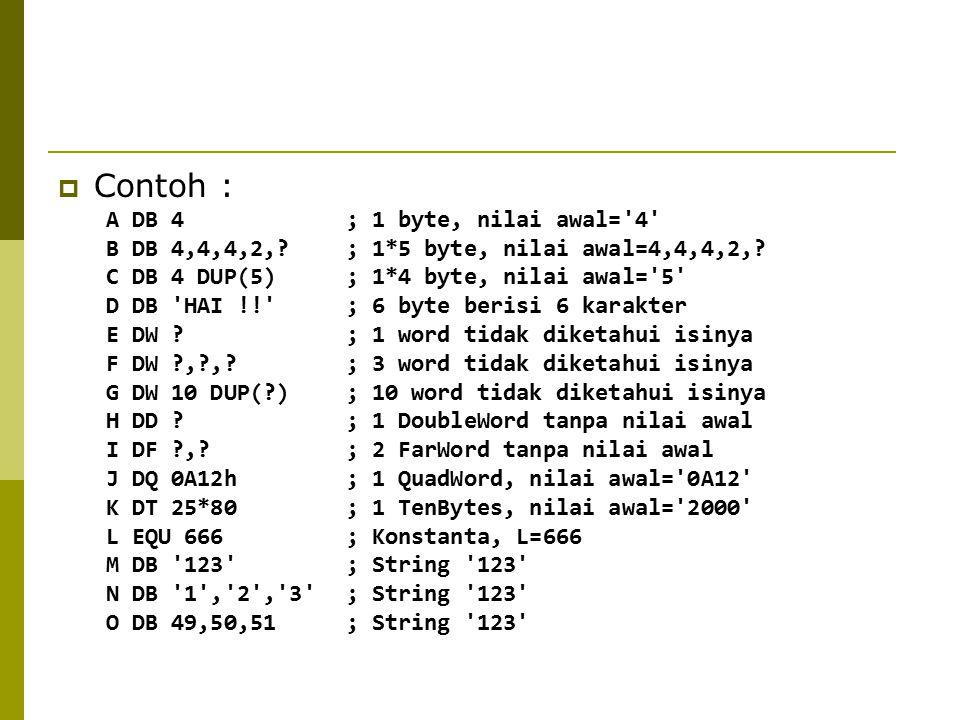 Contoh : A DB 4 ; 1 byte, nilai awal= 4