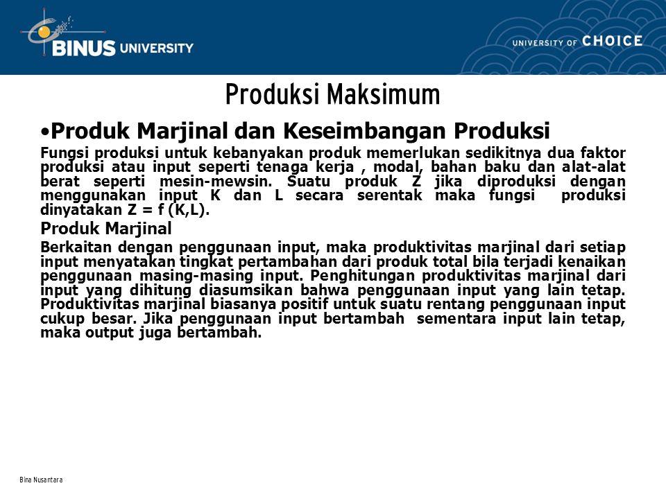 Produksi Maksimum Produk Marjinal dan Keseimbangan Produksi