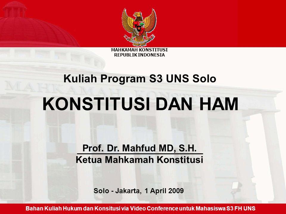 Kuliah Program S3 UNS Solo Ketua Mahkamah Konstitusi