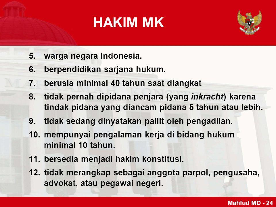 HAKIM MK warga negara Indonesia. berpendidikan sarjana hukum.