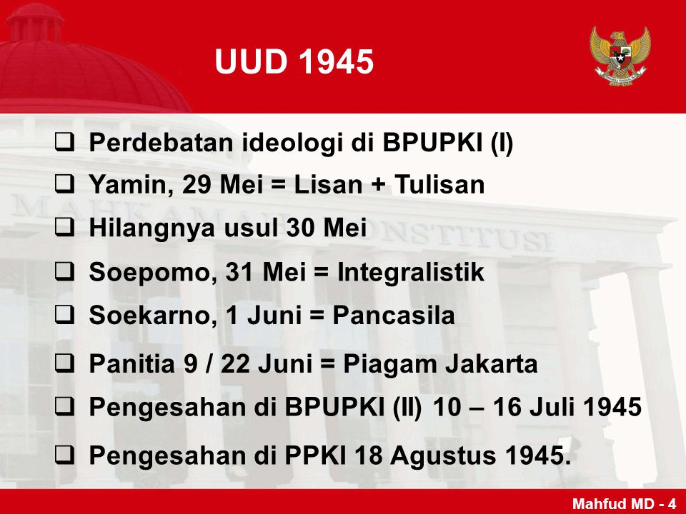 UUD 1945 Perdebatan ideologi di BPUPKI (I)