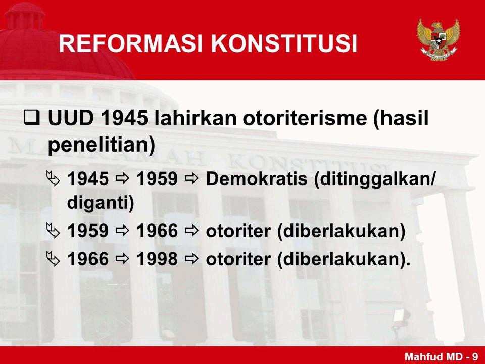 REFORMASI KONSTITUSI UUD 1945 lahirkan otoriterisme (hasil penelitian)