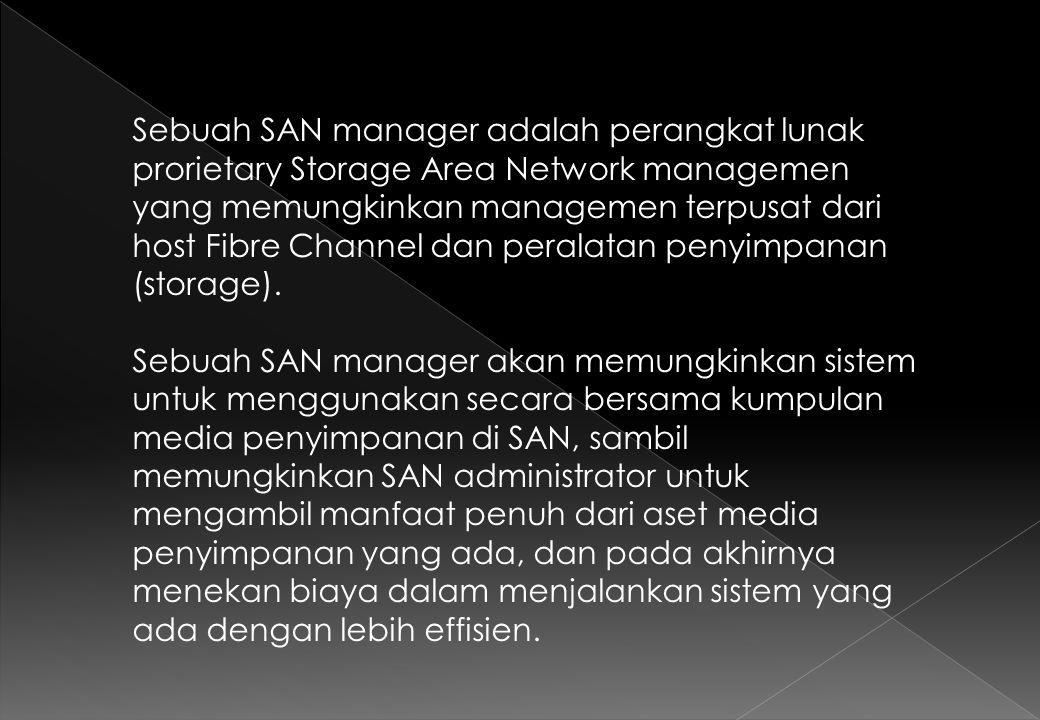 Sebuah SAN manager adalah perangkat lunak prorietary Storage Area Network managemen yang memungkinkan managemen terpusat dari host Fibre Channel dan peralatan penyimpanan (storage).