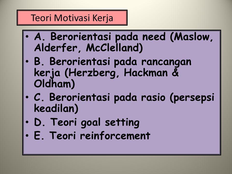 Teori Motivasi Kerja A. Berorientasi pada need (Maslow, Alderfer, McClelland) B. Berorientasi pada rancangan kerja (Herzberg, Hackman & Oldham)