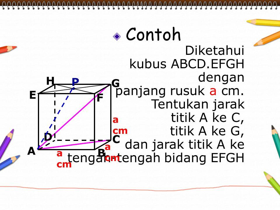 Contoh Diketahui kubus ABCD.EFGH dengan panjang rusuk a cm.
