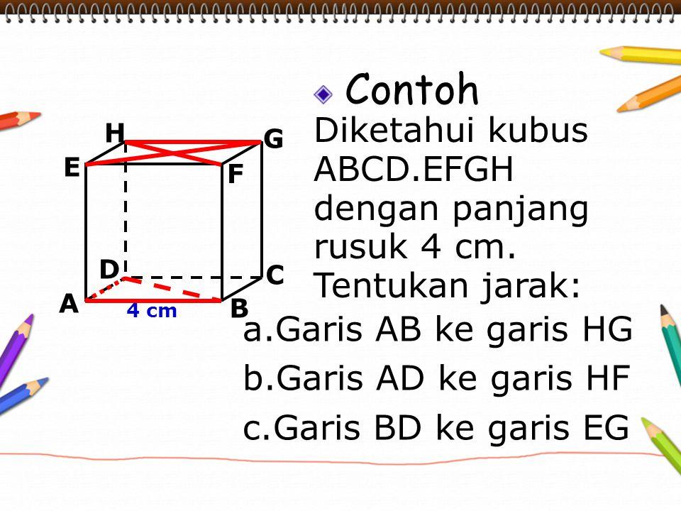 Contoh Diketahui kubus ABCD.EFGH dengan panjang rusuk 4 cm.