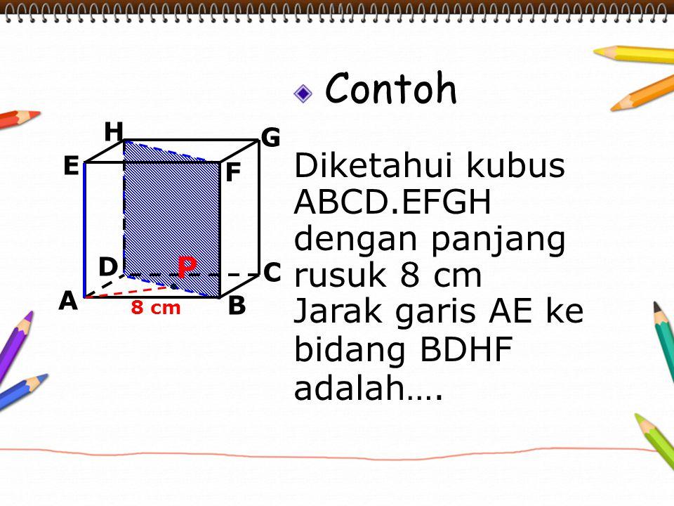 Contoh Diketahui kubus ABCD.EFGH dengan panjang rusuk 8 cm