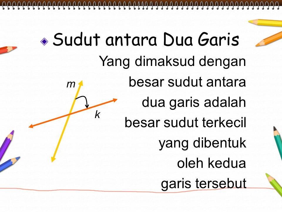 Sudut antara Dua Garis Yang dimaksud dengan besar sudut antara