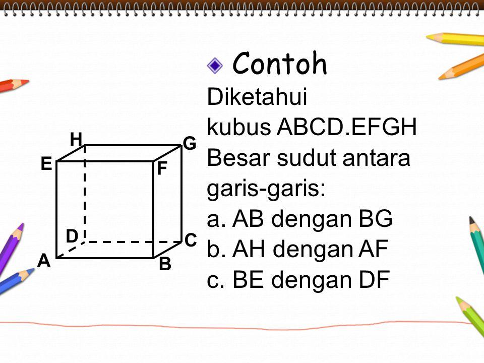 Contoh Diketahui kubus ABCD.EFGH Besar sudut antara garis-garis: