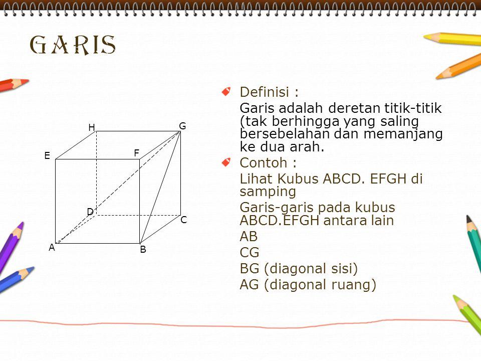 garis Definisi : Garis adalah deretan titik-titik (tak berhingga yang saling bersebelahan dan memanjang ke dua arah.