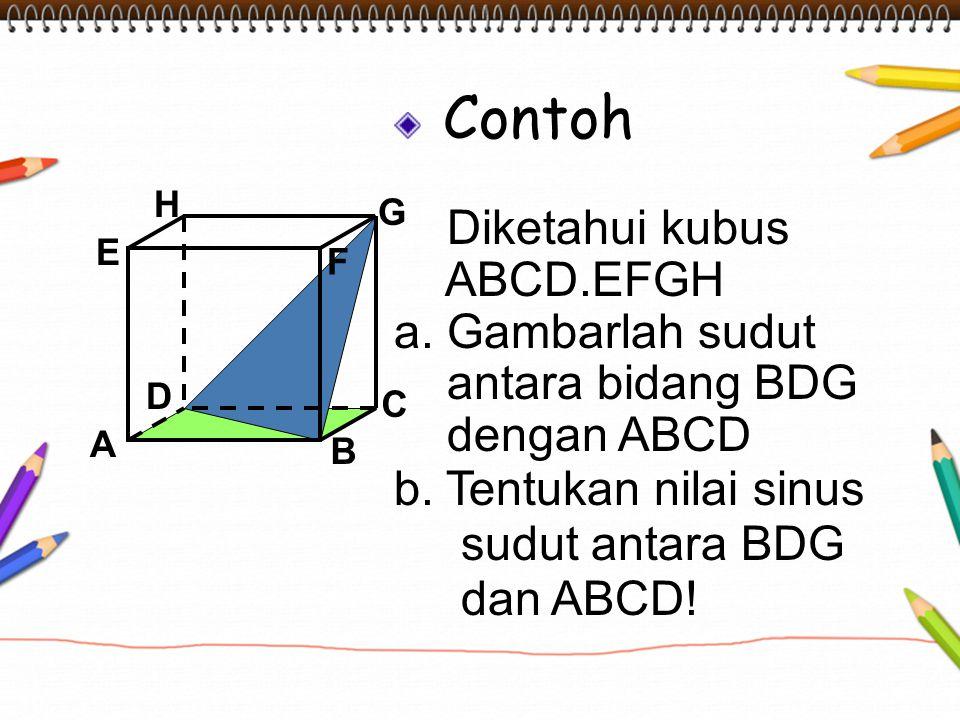 Contoh Diketahui kubus ABCD.EFGH a. Gambarlah sudut antara bidang BDG