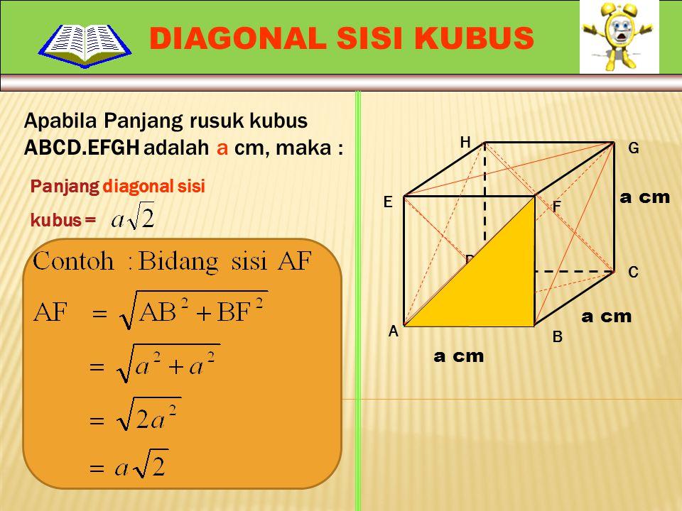DIAGONAL SISI KUBUS Apabila Panjang rusuk kubus ABCD.EFGH adalah a cm, maka : H. G. Panjang diagonal sisi.