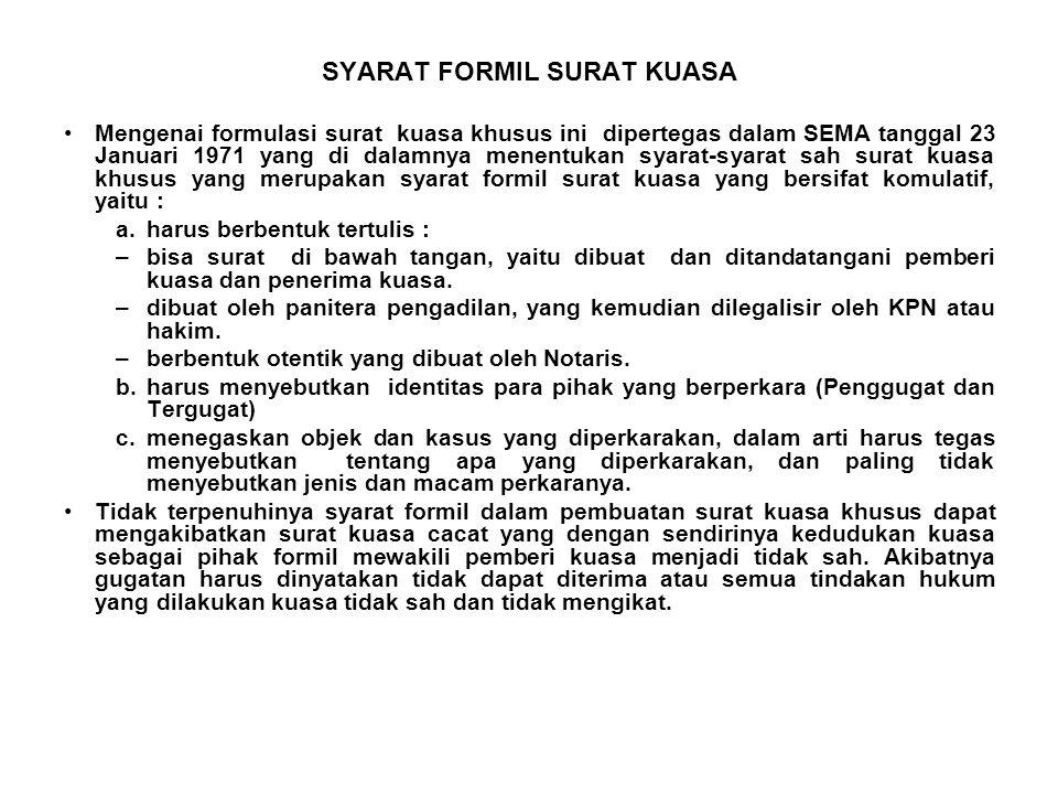 SYARAT FORMIL SURAT KUASA