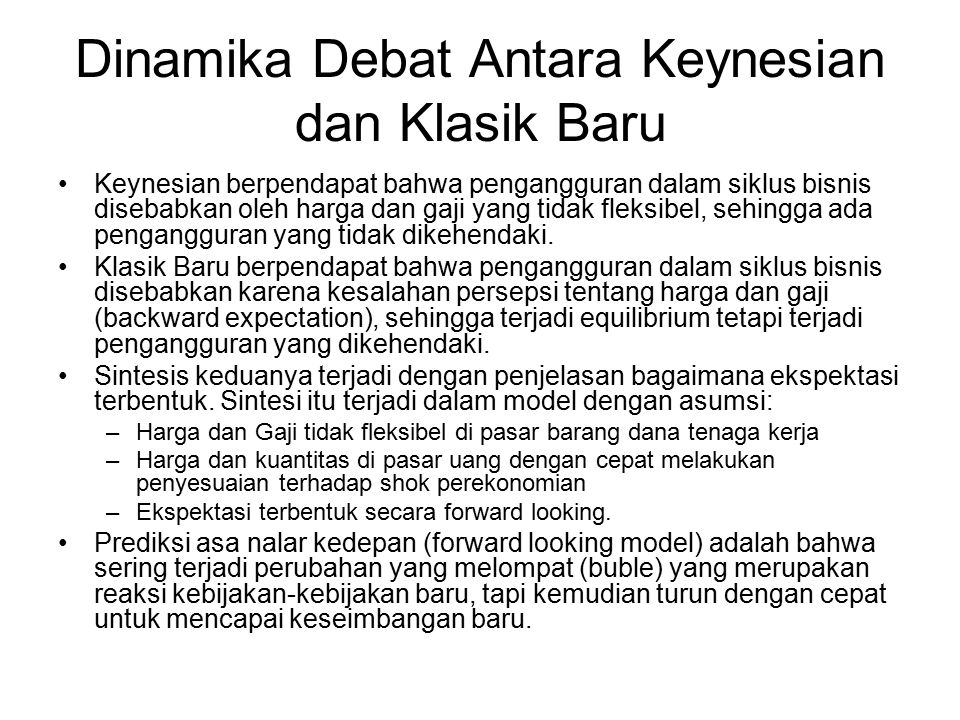 Dinamika Debat Antara Keynesian dan Klasik Baru