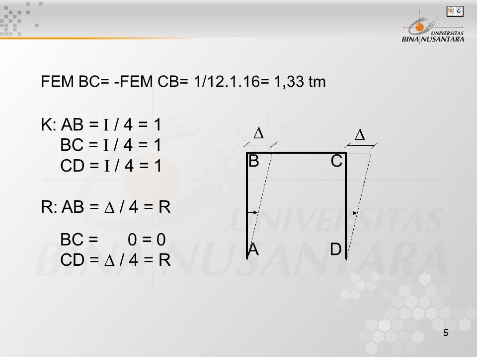 K: AB = I / 4 = 1 BC = I / 4 = 1 CD = I / 4 = 1 R: AB =  / 4 = R  A