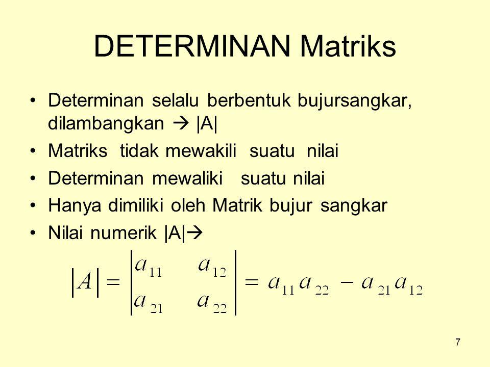 DETERMINAN Matriks Determinan selalu berbentuk bujursangkar, dilambangkan  |A| Matriks tidak mewakili suatu nilai.