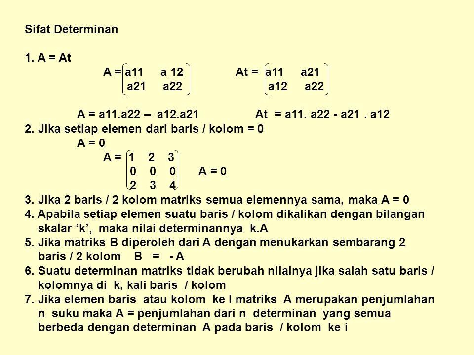 Sifat Determinan 1. A = At. A = a11 a 12 At = a11 a21. a21 a22 a12 a22.