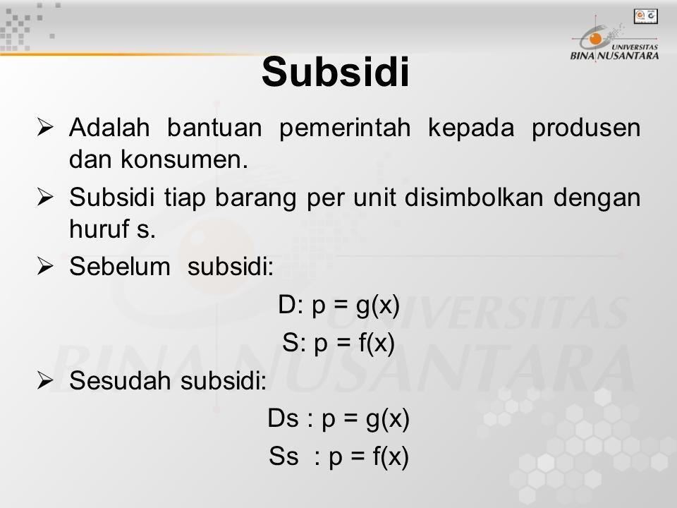 Subsidi Adalah bantuan pemerintah kepada produsen dan konsumen.