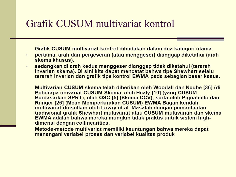 Grafik CUSUM multivariat kontrol