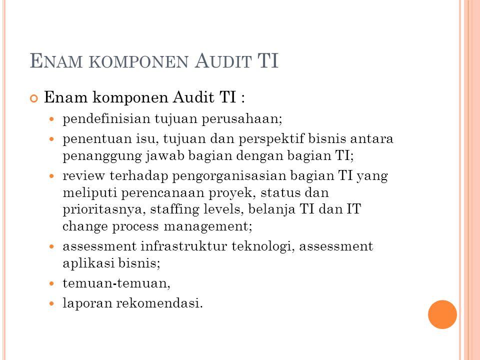 Enam komponen Audit TI Enam komponen Audit TI :