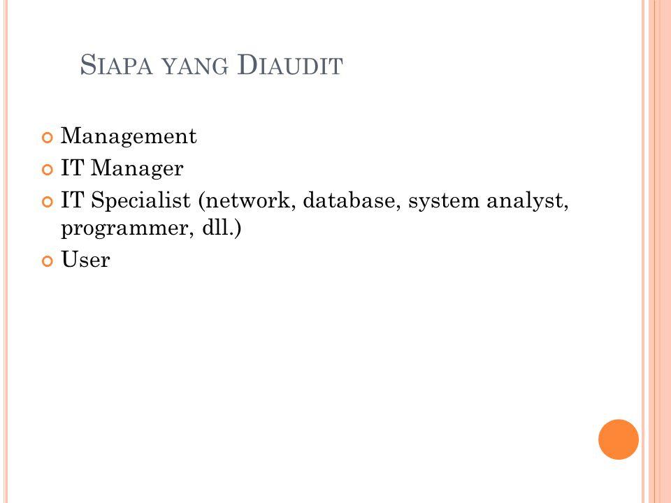 Siapa yang Diaudit Management IT Manager