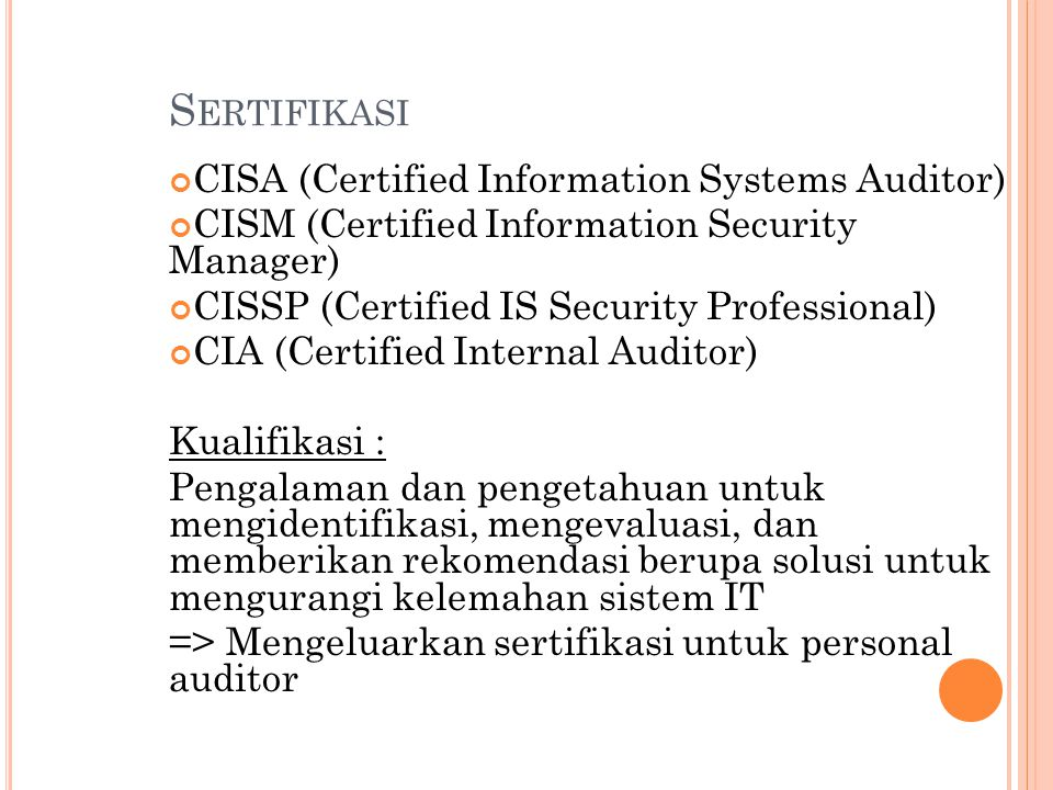 Sertifikasi CISA (Certified Information Systems Auditor)