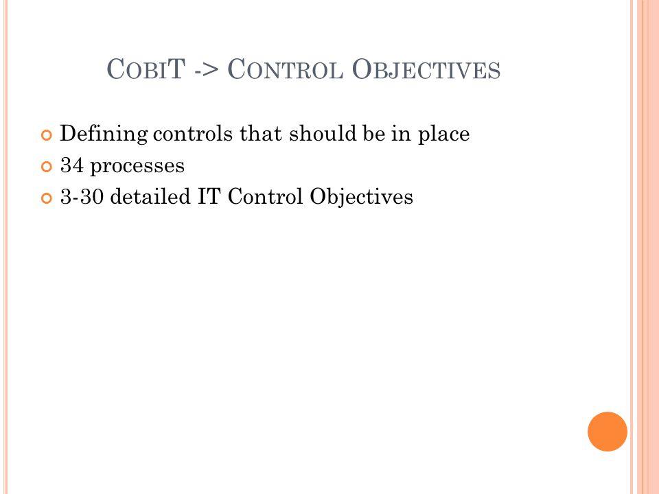 CobiT -> Control Objectives