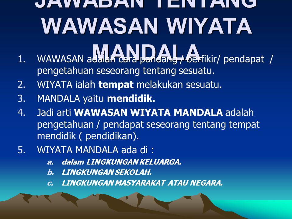 JAWABAN TENTANG WAWASAN WIYATA MANDALA