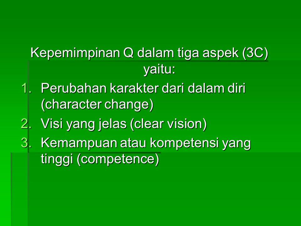 Kepemimpinan Q dalam tiga aspek (3C) yaitu: