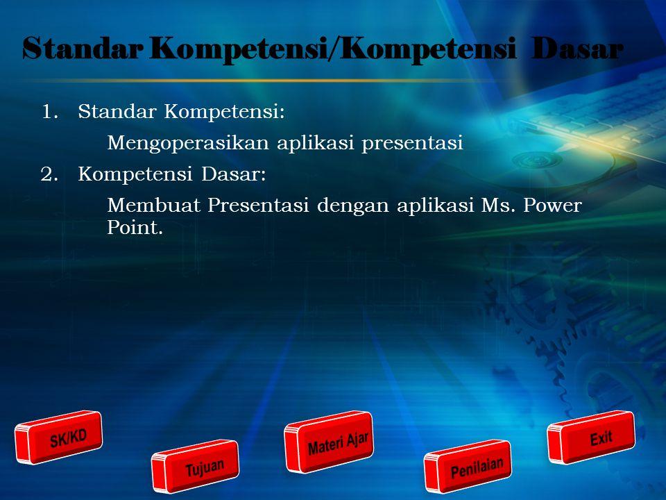 Standar Kompetensi/Kompetensi Dasar