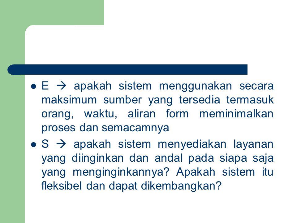 E  apakah sistem menggunakan secara maksimum sumber yang tersedia termasuk orang, waktu, aliran form meminimalkan proses dan semacamnya