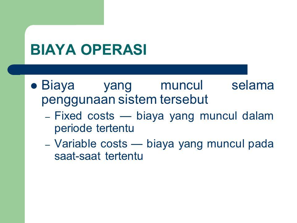 BIAYA OPERASI Biaya yang muncul selama penggunaan sistem tersebut