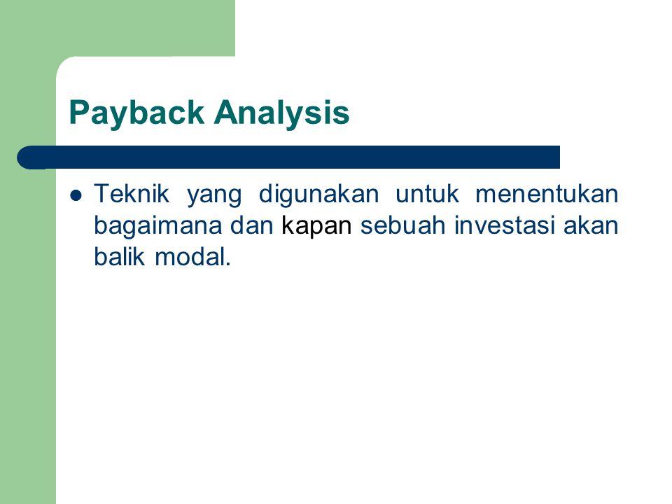 Payback Analysis Teknik yang digunakan untuk menentukan bagaimana dan kapan sebuah investasi akan balik modal.