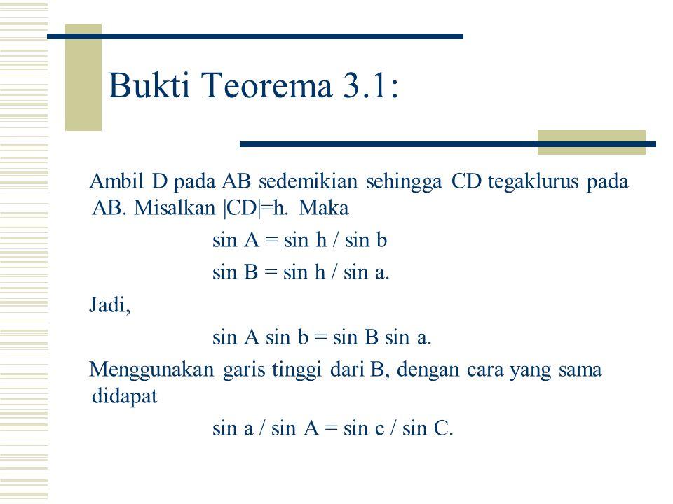 Bukti Teorema 3.1: Ambil D pada AB sedemikian sehingga CD tegaklurus pada AB. Misalkan |CD|=h. Maka.