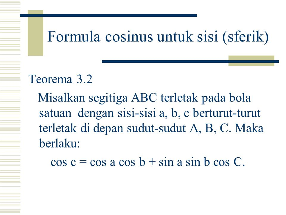 Formula cosinus untuk sisi (sferik)