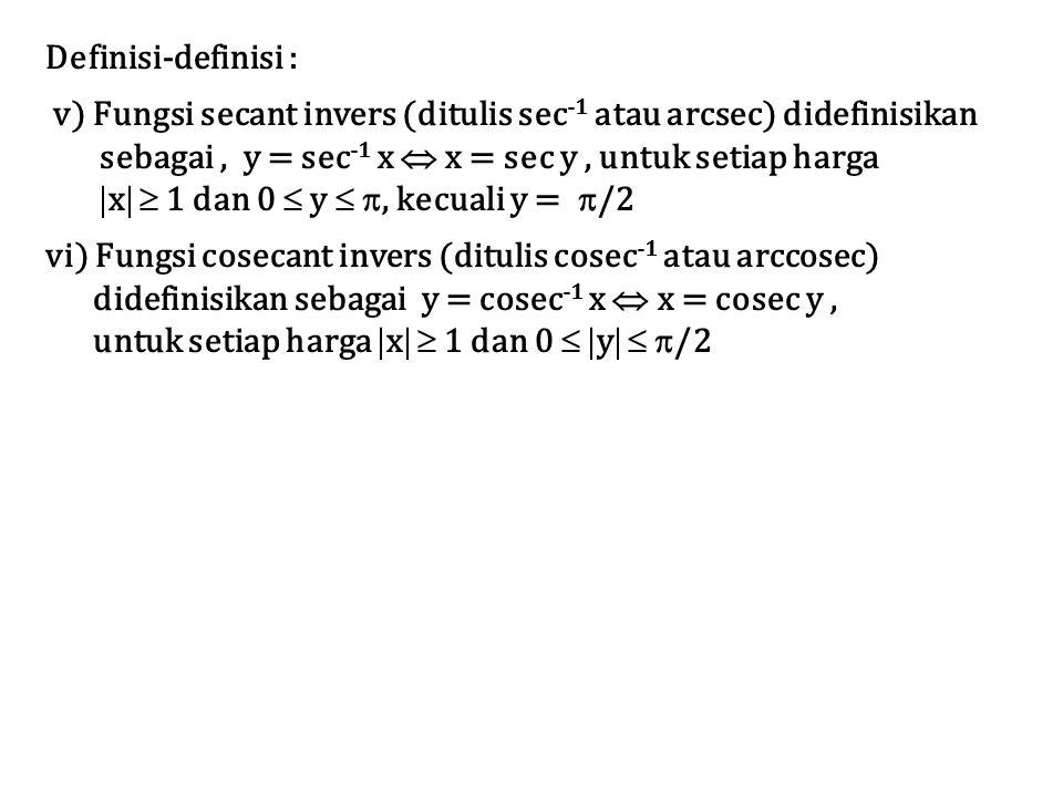 Definisi-definisi : v) Fungsi secant invers (ditulis sec-1 atau arcsec) didefinisikan. sebagai , y = sec-1 x  x = sec y , untuk setiap harga.
