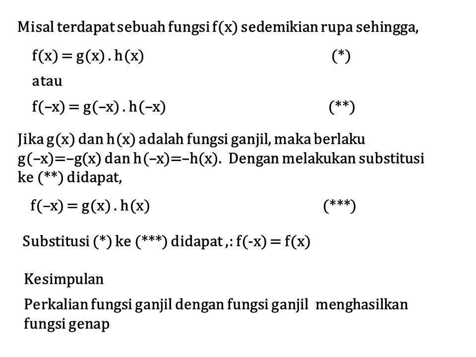 Misal terdapat sebuah fungsi f(x) sedemikian rupa sehingga,